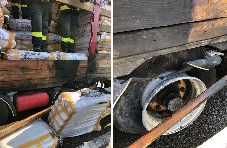 Pompierii au salvat în ultimul moment un camion care luase foc